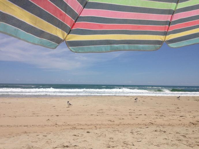 Frisco, beach umbrella view