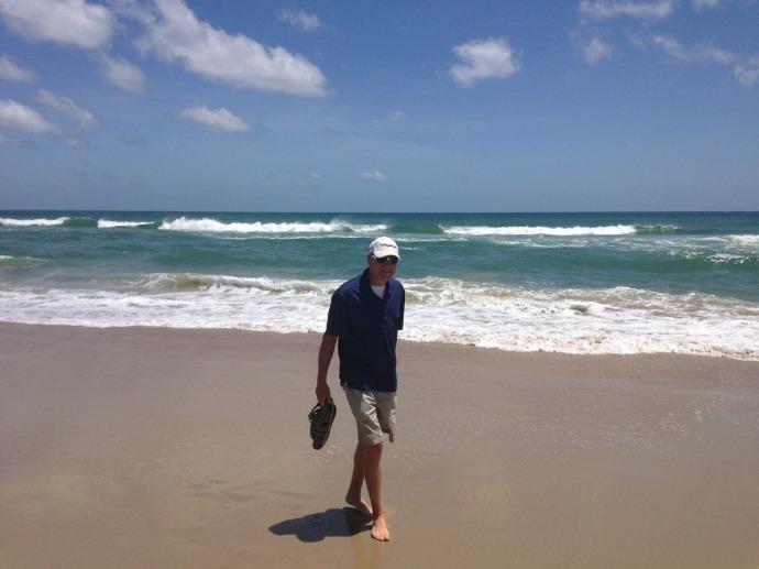 Frisco, Wally on beach, blue shirt