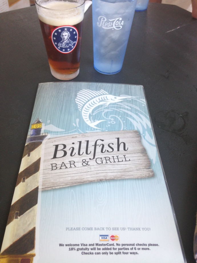 Hatteras, Billfish menu