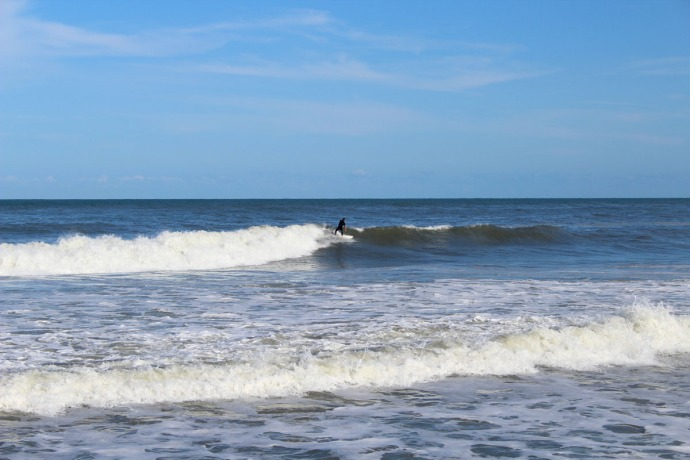 Hatteras surfer on curl