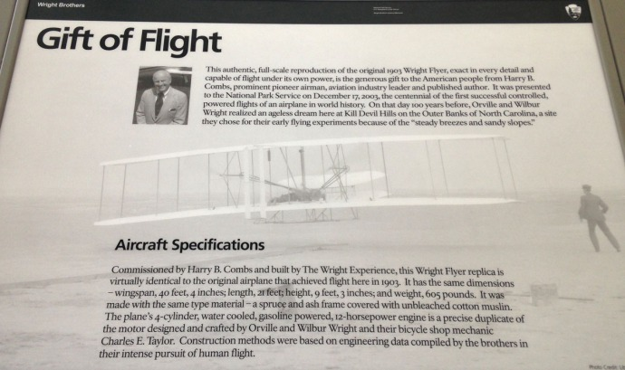 Wright Bros Gift of Flight info