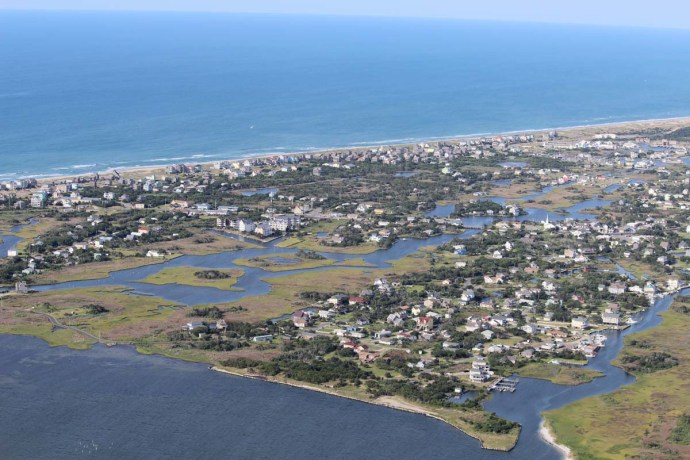 Hatteras populated island view
