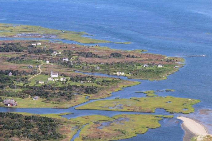 Ocracoke historic village blue water