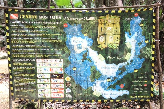 Dos Ojos cavern diagram sign