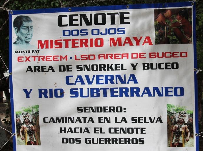 Dos Ojos cenote sign top