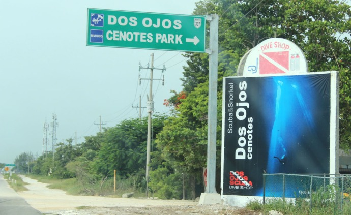 Dos Ojos road sign