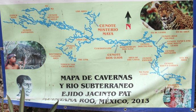Dos Ojos sign bottom, cavern system