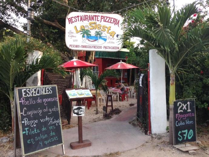 La Siesta Pizzeria, Tulum entrance