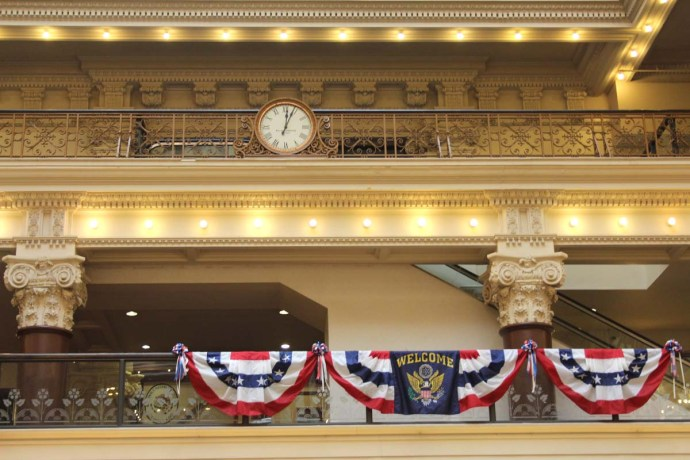 Philly Bourse Hall clock, rail