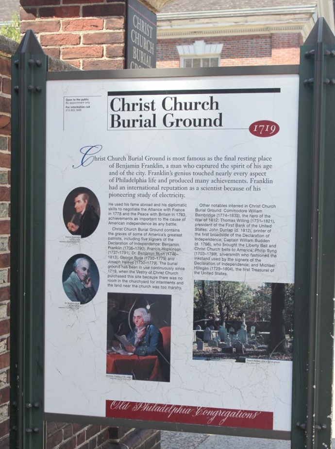 Philly Christ Church Burial Ground sign