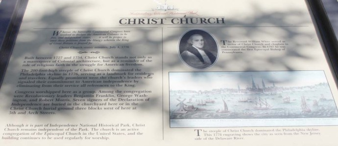 Philly, Christ Church history sign