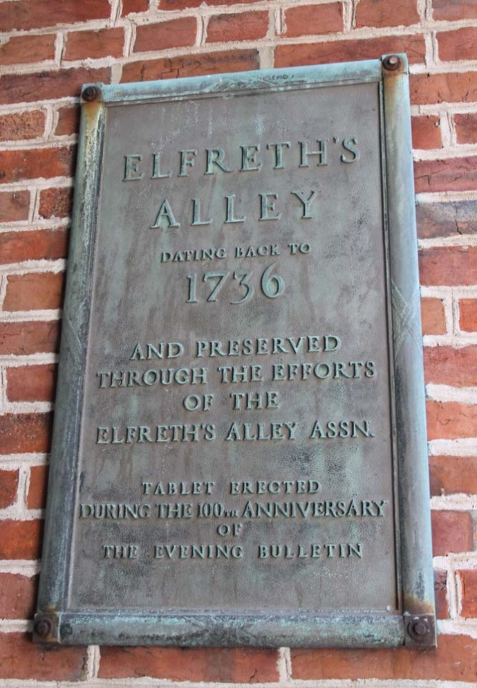 Philly, Elfreth's Alley sign