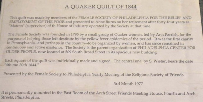 Philly Quaker quilt descrip