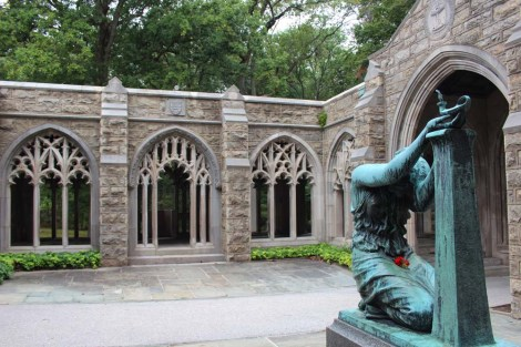 Valley Forge chapel lady statue and courtyard