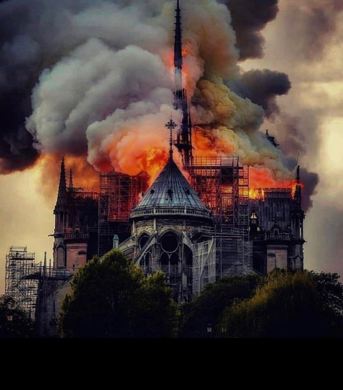Notre Dame burning from back